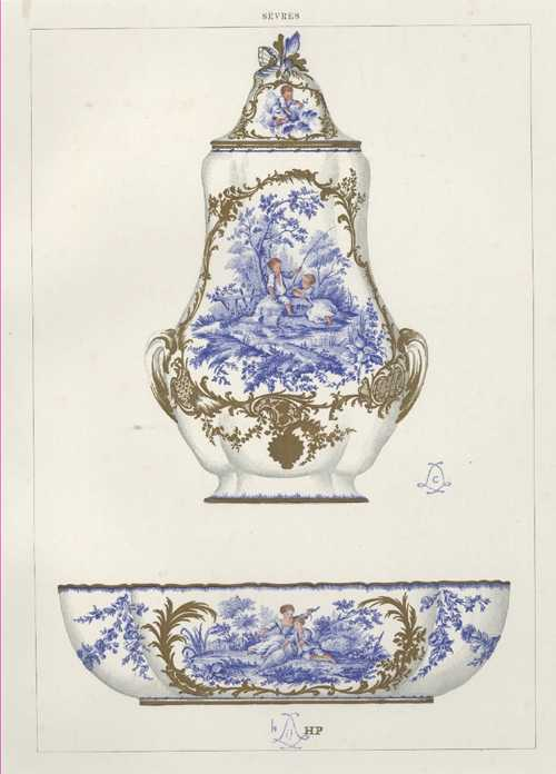 Sevres Porcelain antique print. Wall Fountain and Basin. Lithograph c1890