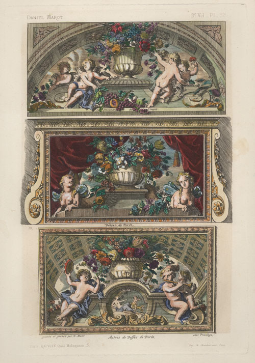 Elaborate putti & Floral decoration by Daniel Marot. Rapilly c1863