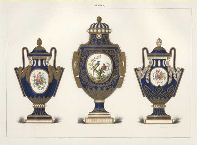 Sevres Porcelain Lithograph of Gilded Vases draped with garlands. c1890