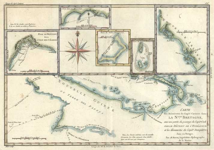 PNG. Captain Carteret, Captain Cook and Captain Dampier map c1788.