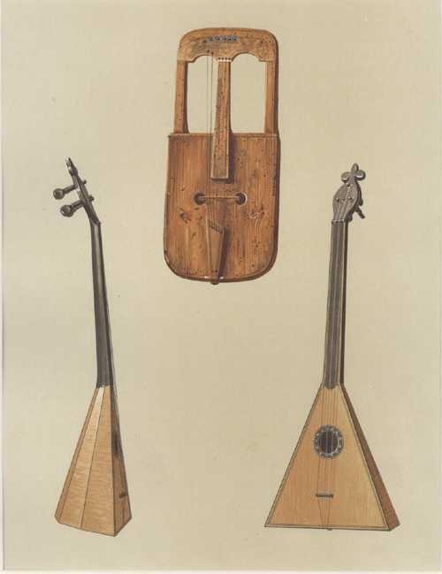 Welsh Crwth, Russian Balaláíka. Hipkins historic instruments lithograph c1888