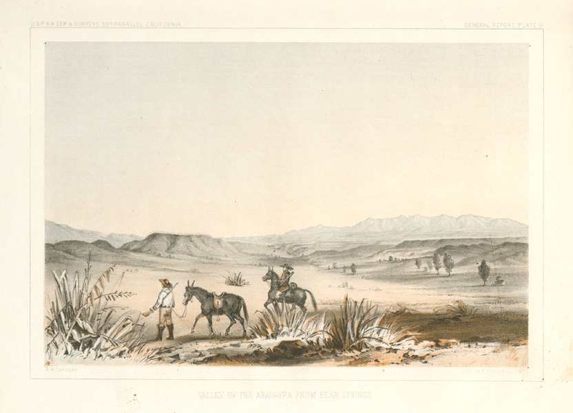 Arizona. Valley of the Aravaypa from Bear Springs, c1855.