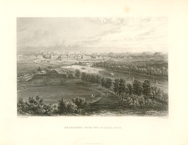 Melbourne from the St Kilda Road. JC Armytage c1874.