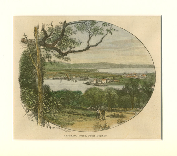 Hobart antique print, Kangaroo Point, from Hobart, c1889.
