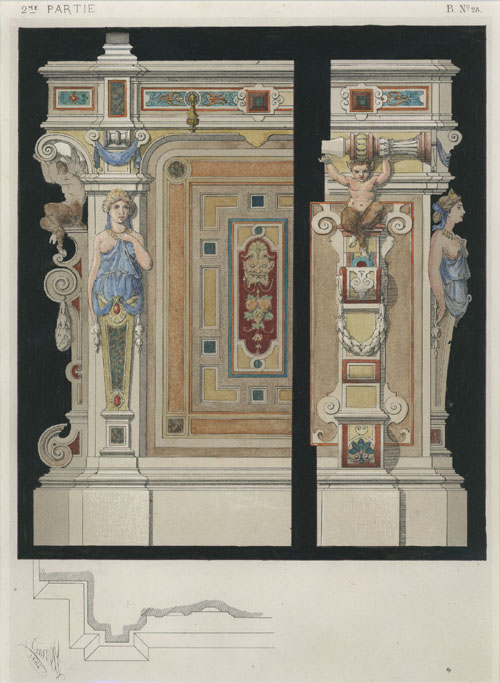 Dietterlin design for architectural detail of walls. Claesen lithograph c1864.