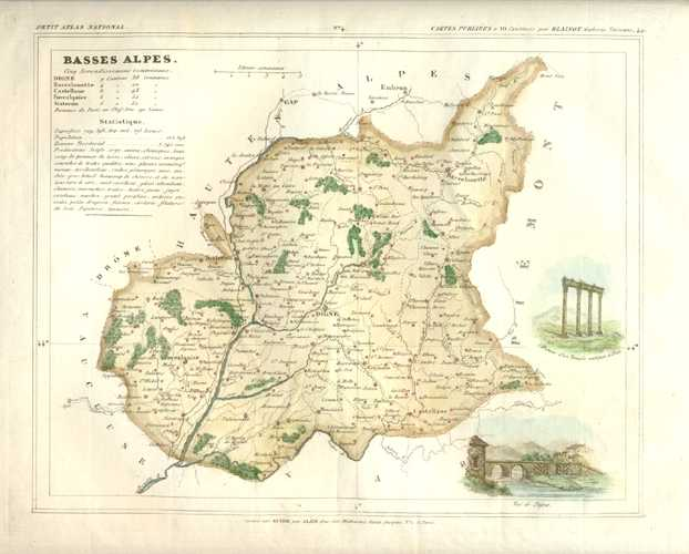 Basses Alpes, Alpes-de-Haute-Provence, France Antique Map. Monin c1833