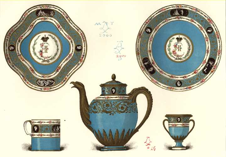 Sevres Porcelain for Catherine, Empress of Russia. Lithograph c1890.