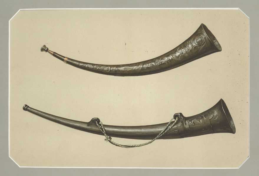 Burgmote Horns lithograph for Hipkins Musical Instruments - Historic, Rare and Unique, c1888