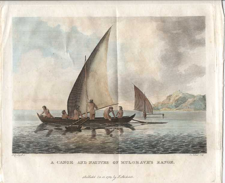 Canoe and Natives of Mulgrave's Range. Outrigger canoes with sails. Stockdale c1789