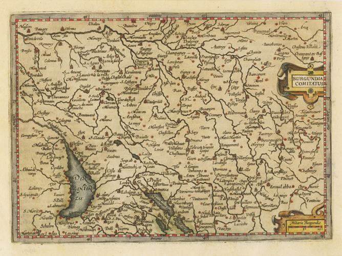 Map Of France Near Geneva.Antique Print Club Burgundia Comitatus Hondius Antique Map Of