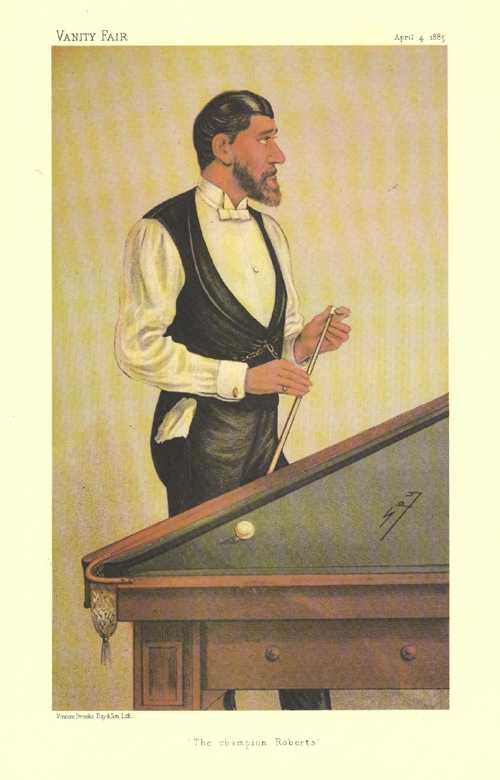 Vanity Fair caricature of Billiards Champion Roberts. Reproduction print.