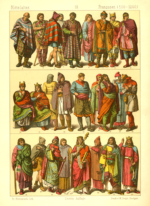 Middle Ages French Fashion (500-1200). Hottenroth lithograph c1886.