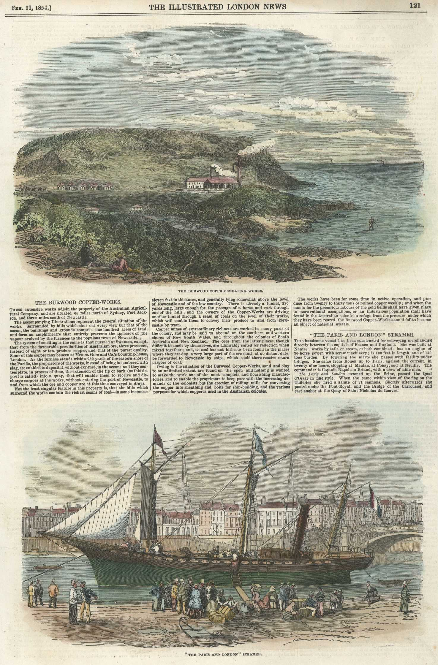 Burwood Copper-smelting Works near Newcastle. Antique engraving c1854