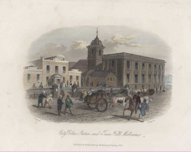 City Police Station & Town Hall, Melbourne. STGill Victoria c1857