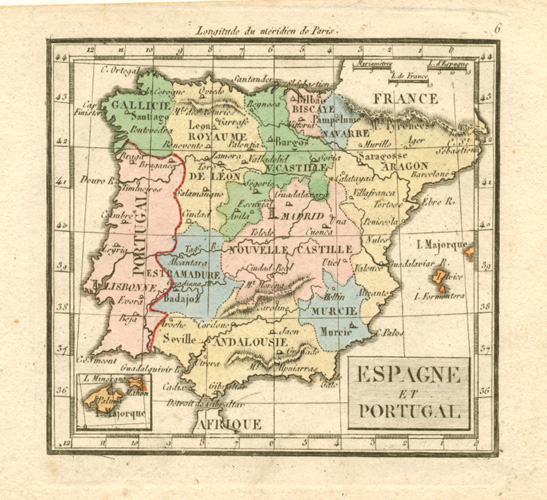 Spain, small antique map for Madame Tardieu-Desnesle c1821
