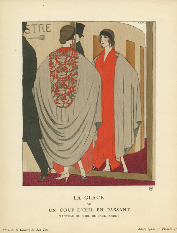 "The Mirror or A Passing Glance. ""La Glace or un Coup d'Oeil en Passant"" Barbier, c1922."