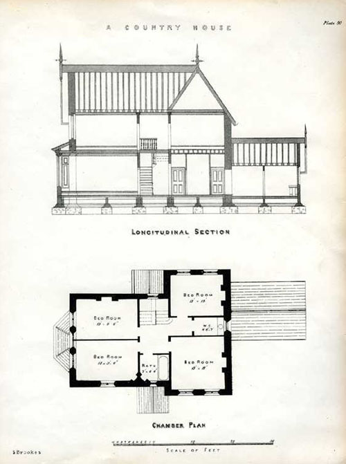 English Country House Longitudinal and Chamber Plan Antique Print c1850