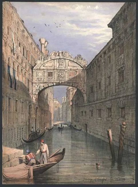 Bridge of Sighs VENICE. Samuel Prout lithograph c1839.