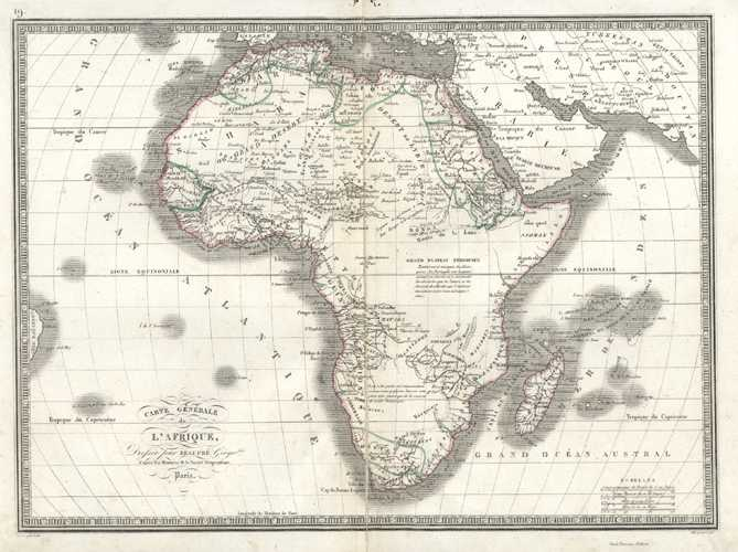 Antique map of Africa. Carte Generale de l'Afrique. Beaupre c1838
