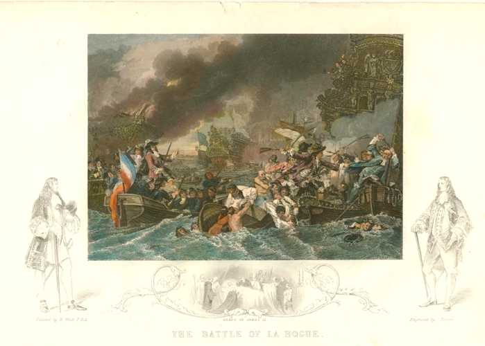 Tallis engraving. The Battle of La Hogue. c1850