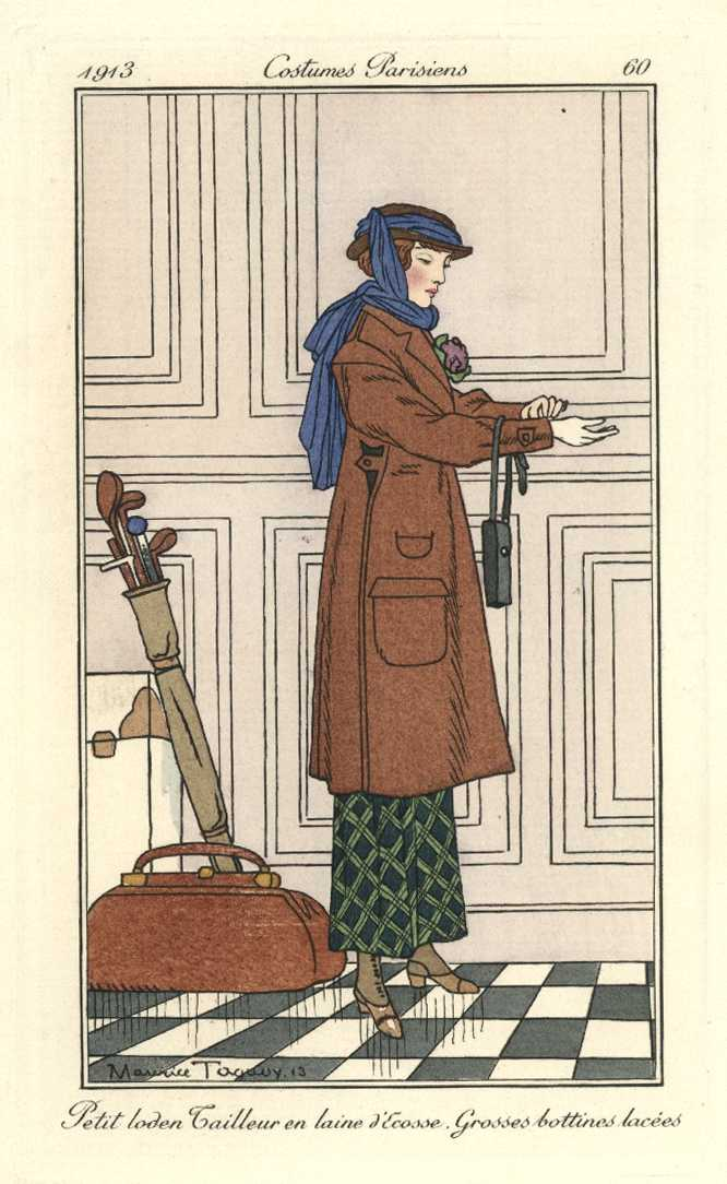 Lady Golfer with Golf Clubs. Costumes Parisiens Taquoy pochoir c1913