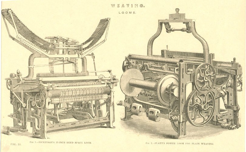 Engineering Technology. 19th century Weaving Looms. Engraving c1880.