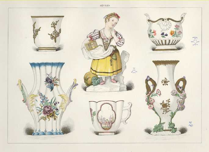 Sevres Porcelain Antique Print c1890. Vases, cups & ornament.