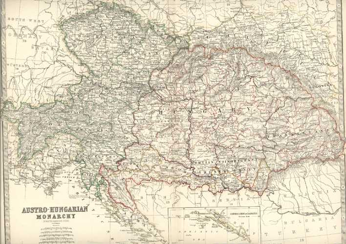Austro-Hungarian Monarchy by Keith Johnston. Inset, Continuation of Dalmatia c1873