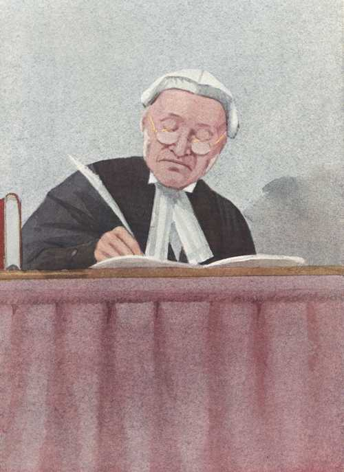 "Law. Bewigged Judge, Vanity Fair ""Equity"". Book of the Bench caricature c1909."