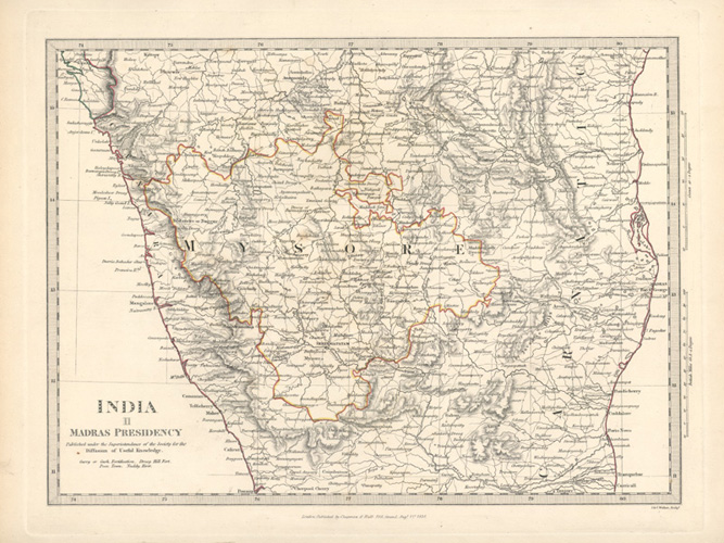 Antique map of southern India. Madras Presidency. SDUK c1831