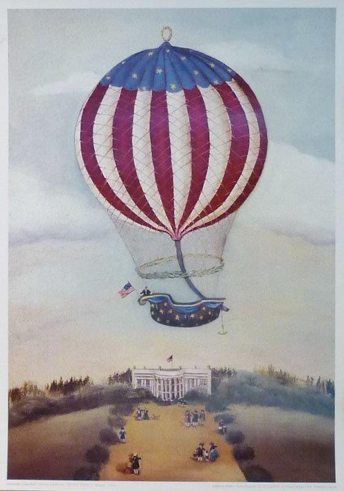 Ballooning. The First Ascent in America. Reproduction print.