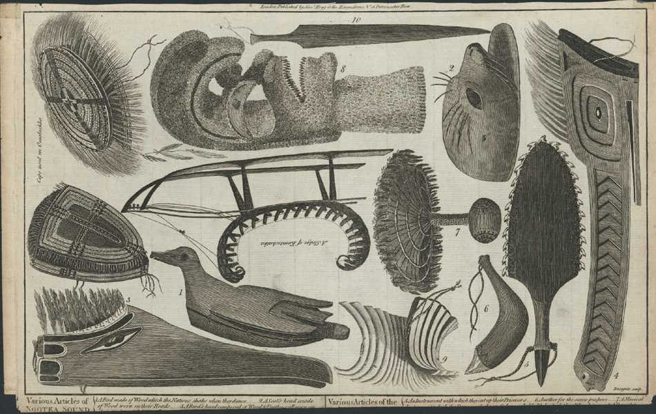Various Articles of Nootka Sound, Omalashka. Vancouver, Alaska. Cook c1784