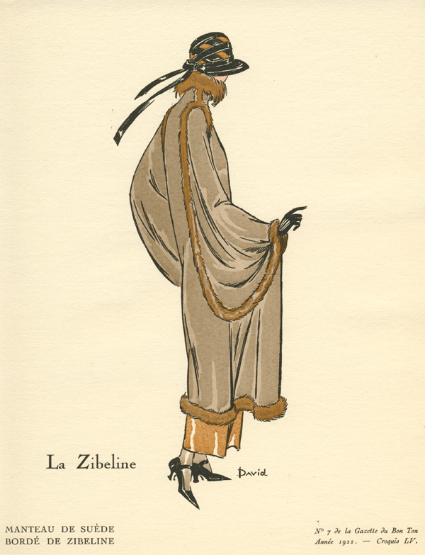 La Zibeline (Sable) Gazette du Bon Ton fashion sketch 55. David c1922.