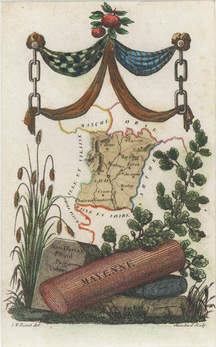 Mayenne Department of France Miniature Antique Map by Perrot c1834