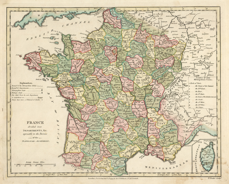 Antique Map of France divided into Departments. Wilkinson c1794