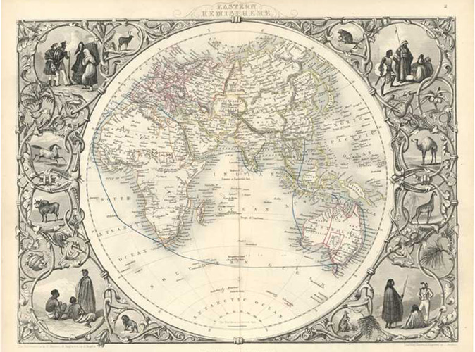 Decorative antique map of the Eastern Hemisphere. Tallis, c1853.