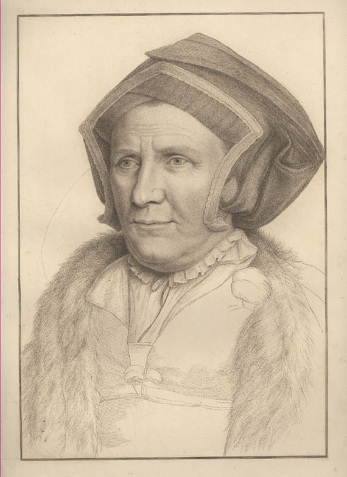 Holbein classical portrait. The Lady Butts, Bartolozzi engraving c1792