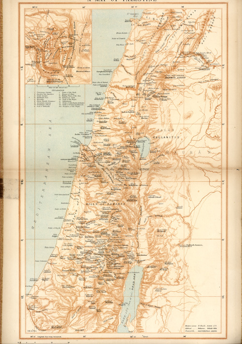 A Map of Palestine religions: modern, biblical, classical names