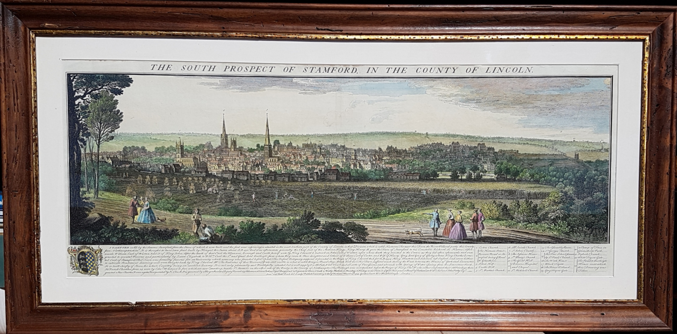 Framed. South Prospect of Stamford, County of Lincoln, c1743.