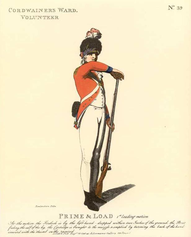 Cordwainers Ward. Volunteer. Prime & Load, Rowlandson military.