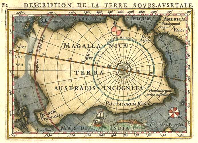 Description de la Terre Soubs-Australe. Bertius South Pole c1616.