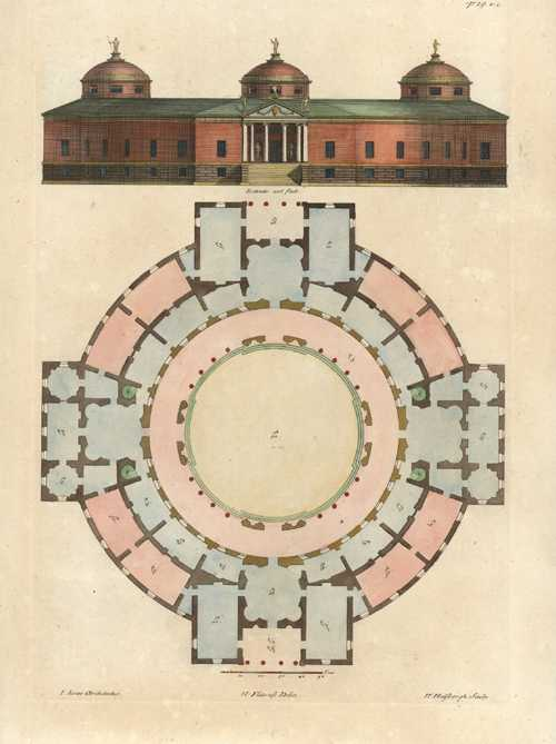 Burlington Architectus. Royal Palace, Whitehall. Elevation and Floorplan, c1725