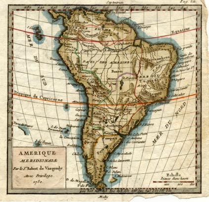 South America antique map. Amerique meridionale. Vaugondy c1750