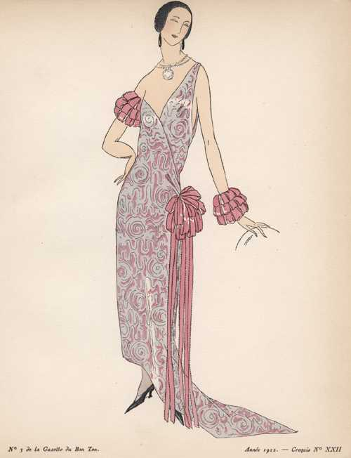 Folded Ribbon Trimming. 1920s Fashion Sketch 22.