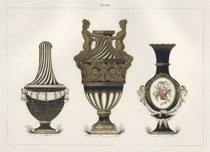 Sevres Porcelain Vase with gilded Sirens. Lithograph c1891