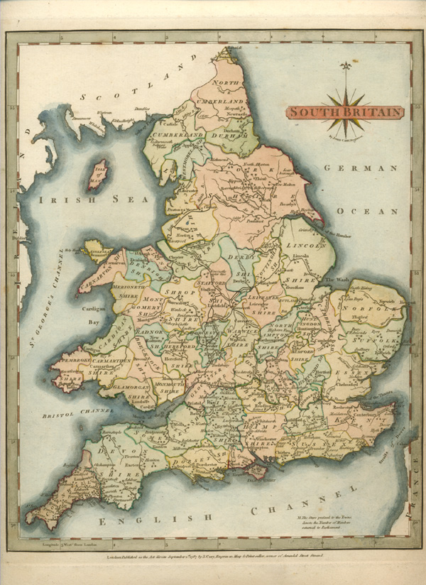 Fine Cary antique map of South Britain c1787.
