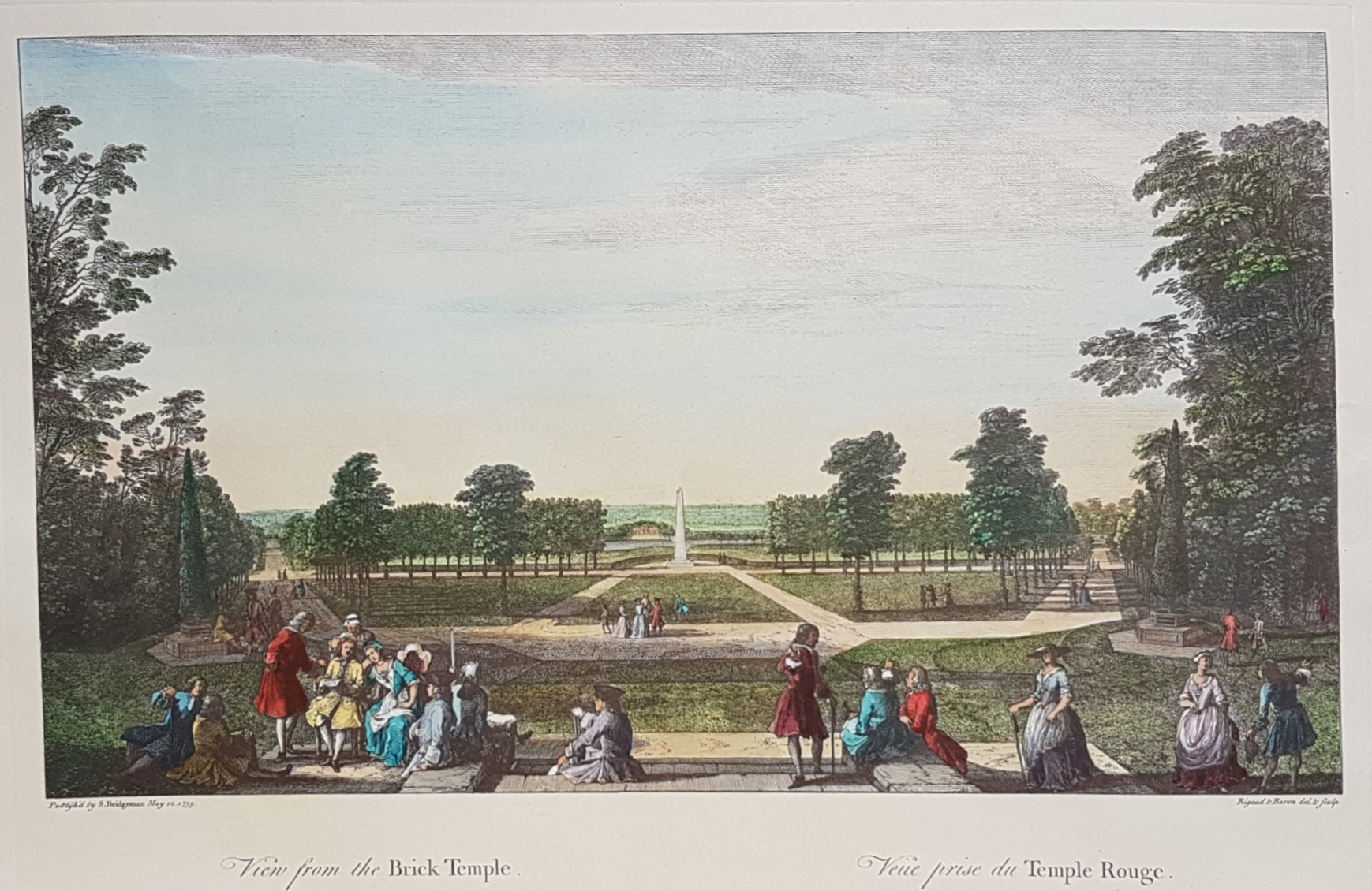 Bridgeman's Stowe landscaping. Fine, large hand-coloured reproduction print.