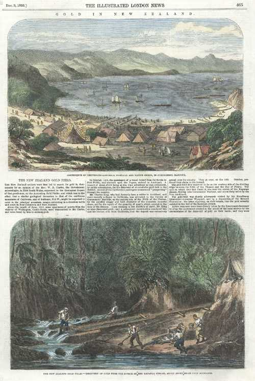 Gold in New Zealand. Alluvial Gold-Mining antique print c1853.