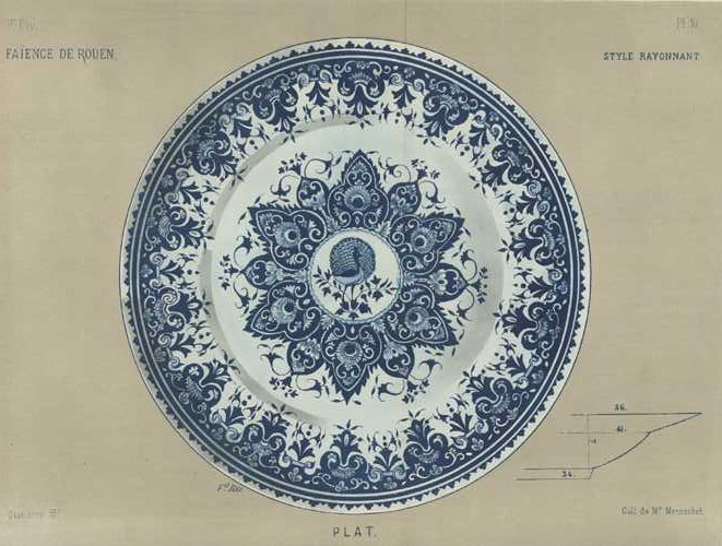 Large lithograph of Faience Porcelain Platter with peacock. c1870