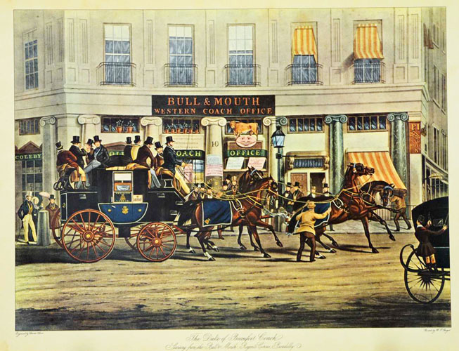 The Duke of Beaufort Coach, Regent's Circus, Piccadilly. Reproduction.